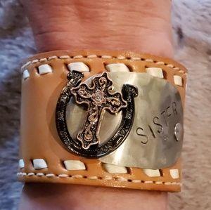 Jewelry - Leather cuff  Sister bracelet